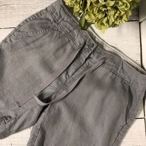 Willi Smith Womans Grey Linen Shorts Size 10